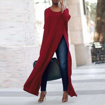 Celmia Casual Solid Crew Neck 3/4 Sleeve Loose Tops High Splits Irregular Hem Blouse Off Shoulder Club Party Shirts