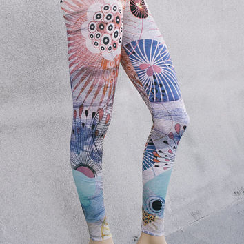 Leggings / flower leggings / Yoga leggings / Art tights / Stretch pants / Custom design / bohemian leggings / IV 105