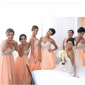 vestido longo 2016 Bridesmaid Dresses Sexy long Halter Beaded Wedding Party Dress Coral Bridesmaid Dress vestido de festa