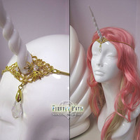 White Unicorn Horn Circlet (with gold filigree)