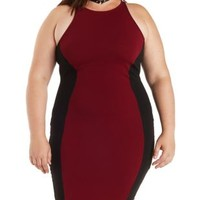 Plus Size Burgundy Cmb Color Block Bodycon Dress by Charlotte Russe