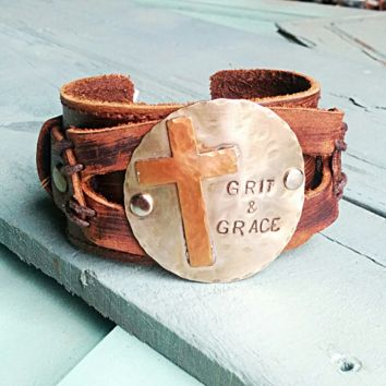 GRIT AND GRACE Distressed Leather Cuff 004X
