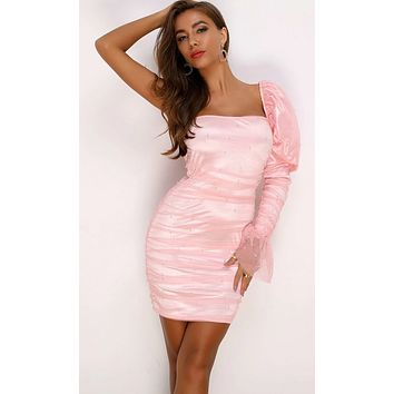 Sweet Emotions Ruched Puff Shoulder Beaded Pearl One Flare Long Sleeve Mesh Bodycon Mini Dress - 3 Colors Available