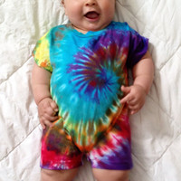 Infant Rainbow Tie Dye Romper