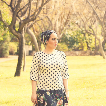 Beige Polka Dot shirt – Modest top for women - Shirt with sleeves