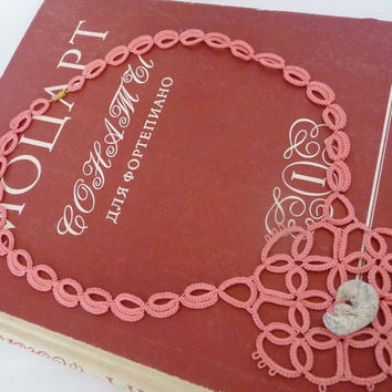 Tatting necklaces coral with the adder stone  -  amulet- talisman for good luck - natural talisman.