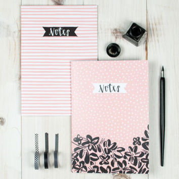 Inky Floral Double A5 Notebook Set