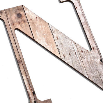 Wooden Letter N, Wood Grain, Crafting Paper, Initials, Country, Rustic, Chic Decor, Wall decorative Letters