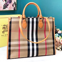 Burberry New fashion plaid stripe leather shoulder bag handbag
