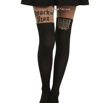 Licensed cool NEW Attack on Titan LOGO Shield Silhouette Part Sheer Tights Pantyhose Nylons