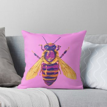 'Honey Bee' Throw Pillow by RaLiz