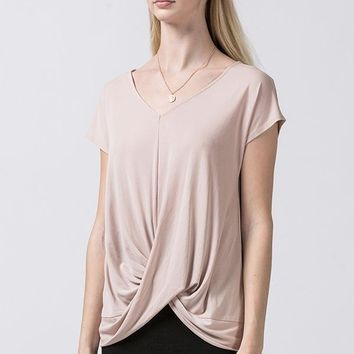 Women's V-Neck Tee with Knot Front Detail