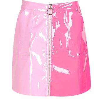 Vinyl Two Tone Zip Woven Mini Skirt | Boohoo