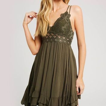 Speechless Scalloped Lace Bralette Mini Dress in Olive