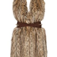 Cary Faux Fur Vest with Straps