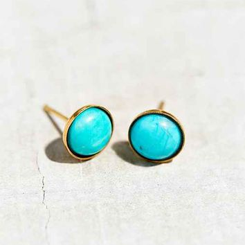 Harlequin Round Turquoise Stud Earring