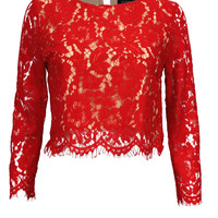 It's a Lace Thing 3/4 Sleeve Cropped Top - Red