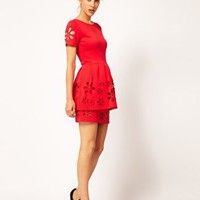 ASOS Peplum Skater With Daisy Cutwork at asos.com