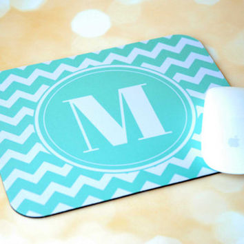 Teal Chevron Initial Monogram Personalized Mouse Pad