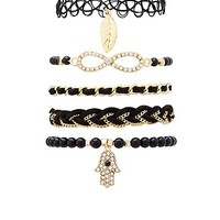 Mixed Beaded & Chain Bracelets - 5 Pack