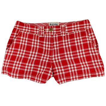 Women's Shorts in White and Crimson Madras by Olde School Brand - FINAL SALE