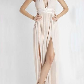 Light Pink Draped Slit Deep V-neck Flowy Bohemian Elegant Vegas Party Maxi Dress