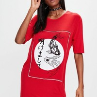 Missguided - Red Oversized Japanese Graphic T-shirt Dress