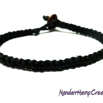 Black Bracelet, Square Knot Macrame Hemp Jewelry, Made to Order