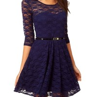 Ostart Sexy Lady Lace 3/4 Sleeve One-piece Dress (10, Dark Blue)