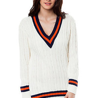Glamorous Top Varsity Sweater in White