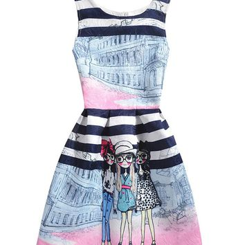 Casual Round Neck Lovely Cartoon Printed Striped Skater Dress