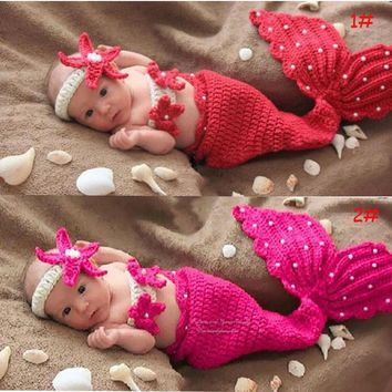 Halloween Chrismas cosplay costume children elastic suit 0-3 months newborn baby costume photography make up dress mermaid suits
