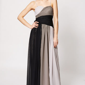 Mix Colour Pleated Top Evening Dress
