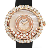 Chopard - Happy Dreams 36mm 18-karat rose gold, satin, diamond and mother-of-pearl watch