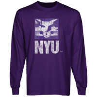 NYU Violets Distressed Primary Long Sleeve T-Shirt - Purple