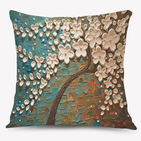 Oil Painting Blossom Tree Square Throw Pillow Case