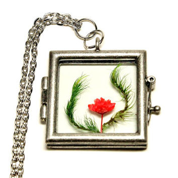 Terrarium Necklace  Nature Jewelry Red Flower Moss Square Glass Locket Antique Silver Plated