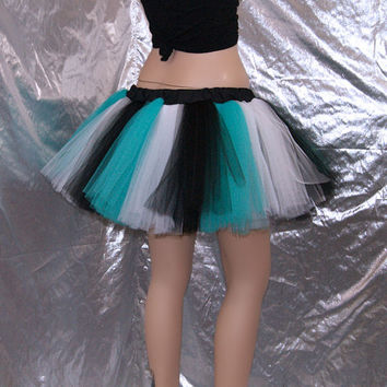 Teal Black and White Striped Tutu adult All SIZES MTCoffinz