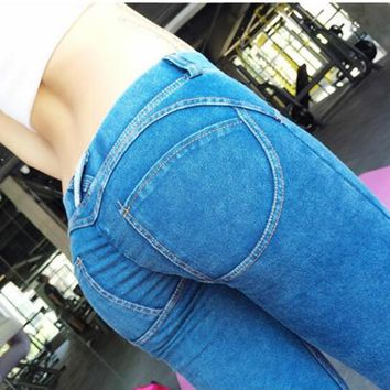 Woman pants fredd jeans Edition Elastic Low Waist Shaping Sexy hip pants Pantalones Push Up Fitness Tight trousers For Women