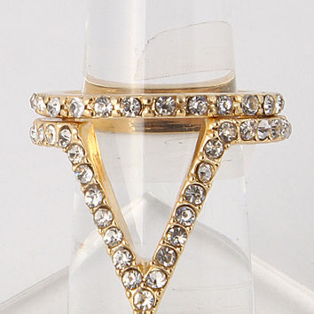 Kylie Triangle Cutout Double Ring - Gold or Silver
