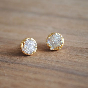 Druzy Stud Earrings, Tiny Stud Earrings, Druse Stud Earrings, Gold Druzy Stud Earrings, Geode Studs