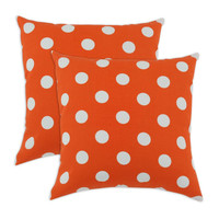 Breezy Polka Dot Orange Indoor-Outdoor Accent 17 inch Throw Pillows (set of 2)