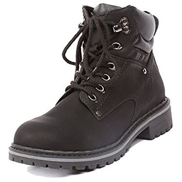 Coshare Women's Fashion Ankle High Padded Cuff Lace Up Slip-Resistant Waterproof Combat Hiking Military Boots Outdoor Work Shoes