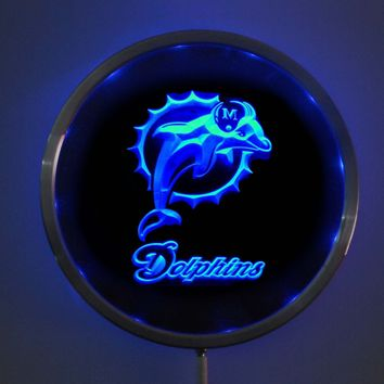 rs-0135 Miami Dolphins LED Neon Round Signs 25cm/ 10 Inch - Bar Sign with RGB Multi-Color Remote Wireless Control Function