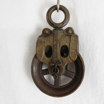 Vintage Industrial Steel Pulley, Barn Pulley, Repurpose
