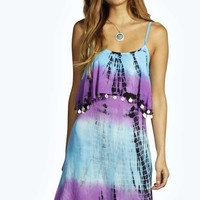 Abigail Bright Tie Dye Coin Trim Dress