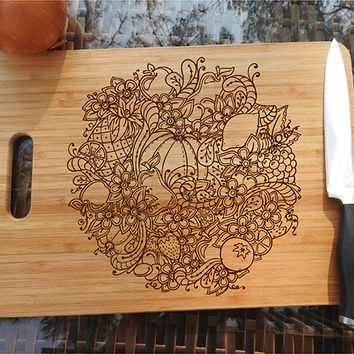 ikb461 Personalized Cutting Board Wood vegetables food restaurant kitchen