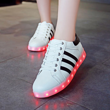Korean LED Lightning Flat Casual Fashion Noctilucent Shoes [4964957572]