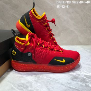 HCXX N686 Nike Zoom KD11 Mid XI Men Actual Baketball Shoes Red Black Yellow