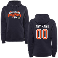 Women's Denver Broncos Navy Super Bowl 50 Champions Seam Personalized Pullover Hoodie